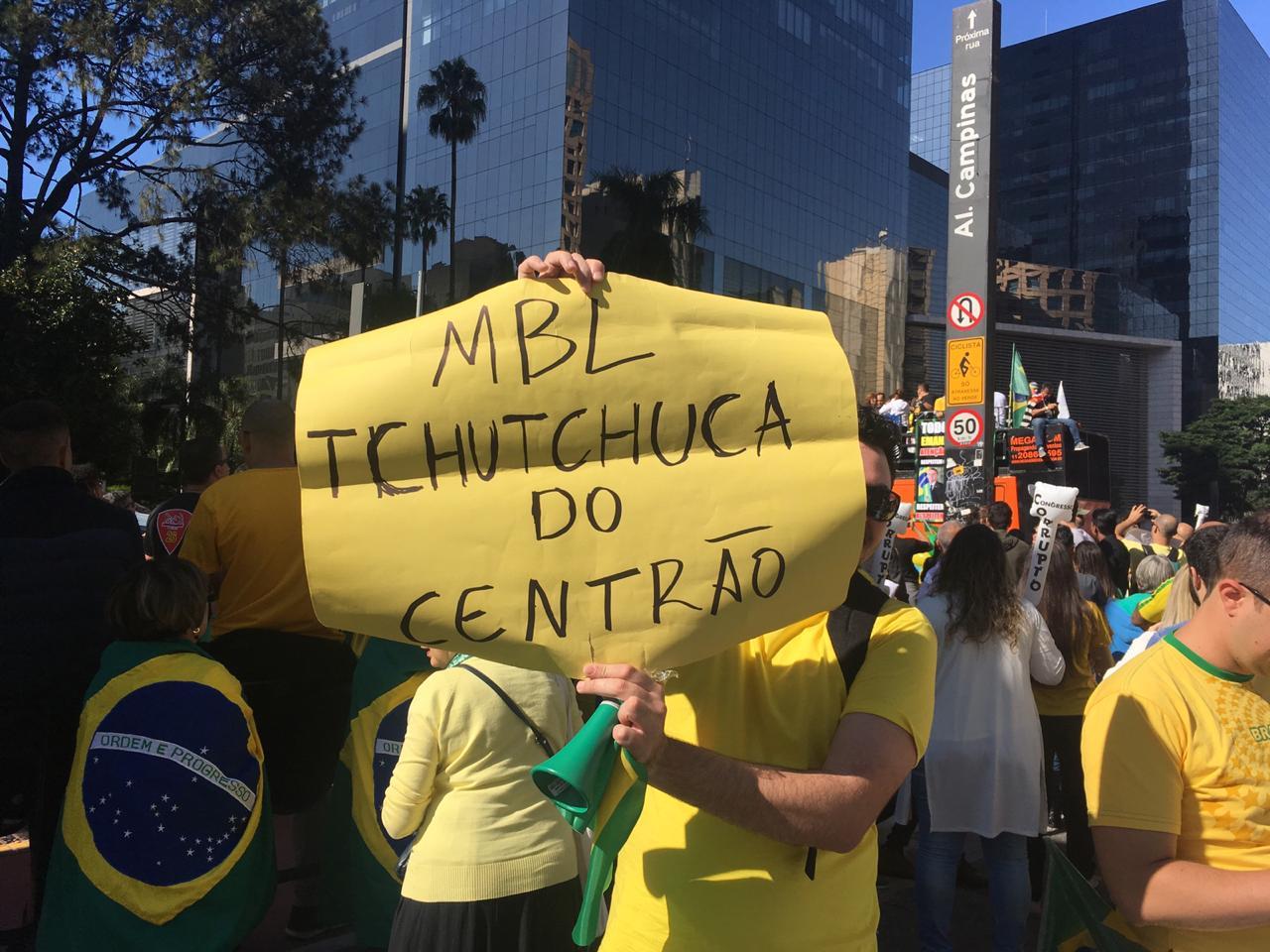 Antes juntos no apoio a Bolsonaro, MBL não compareceu ao ato e foi criticado pelos manifestantes - Créditos: Foto: José Eduardo Bernardes