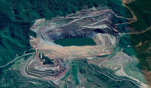 Vista aérea da região que pode ser atingida pela lama - Créditos: Foto: Reprodução/Google Maps