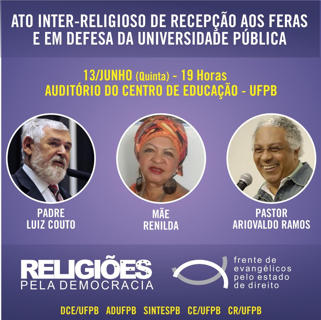 PB: Ato inter-religioso em defesa da universidade pública e em recepção aos feras - Créditos: Card de Divulgação